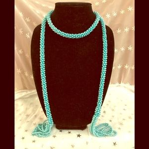 Jewelry - Teal colored beaded wrap around necklace